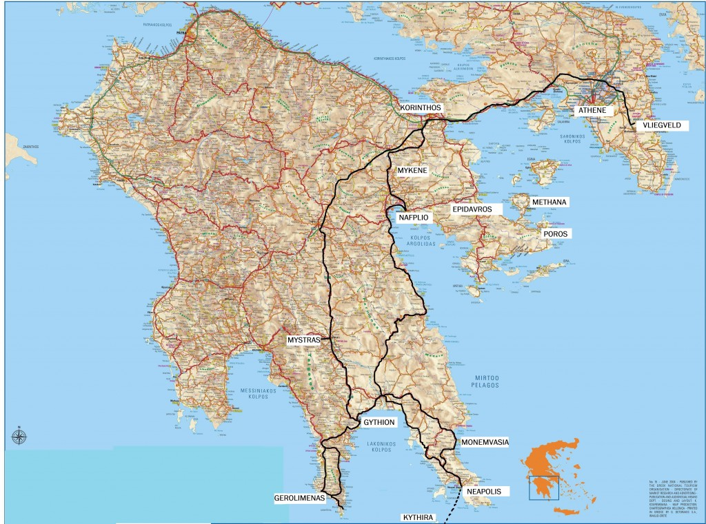 Routekaart Fly Drive Griekenland