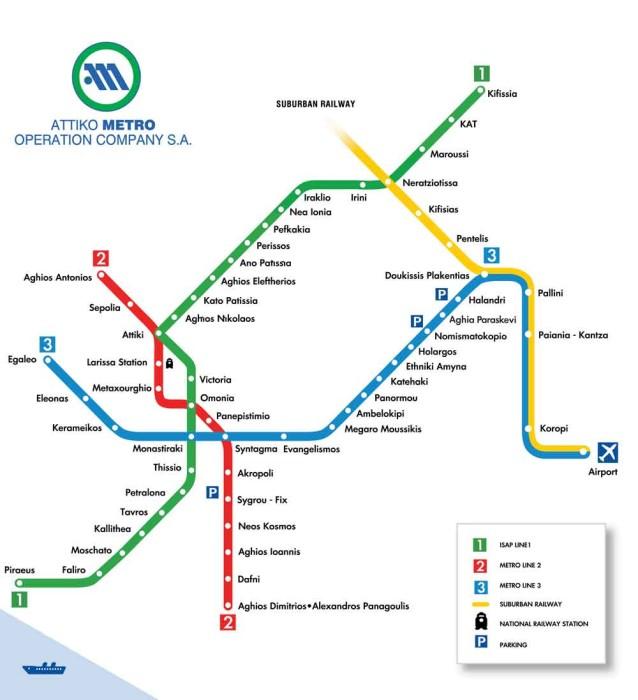 Overnachting in Athene - Kaart metro Athene