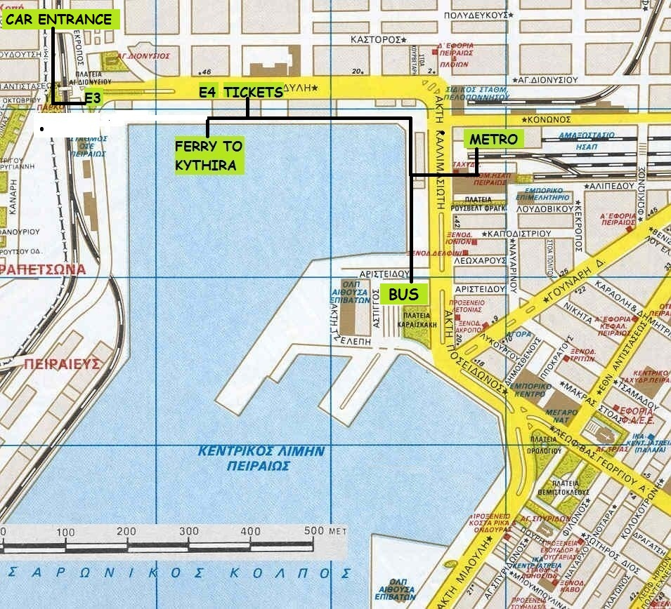 De haven van Piraeus - Plattegrond haven van Piraeus