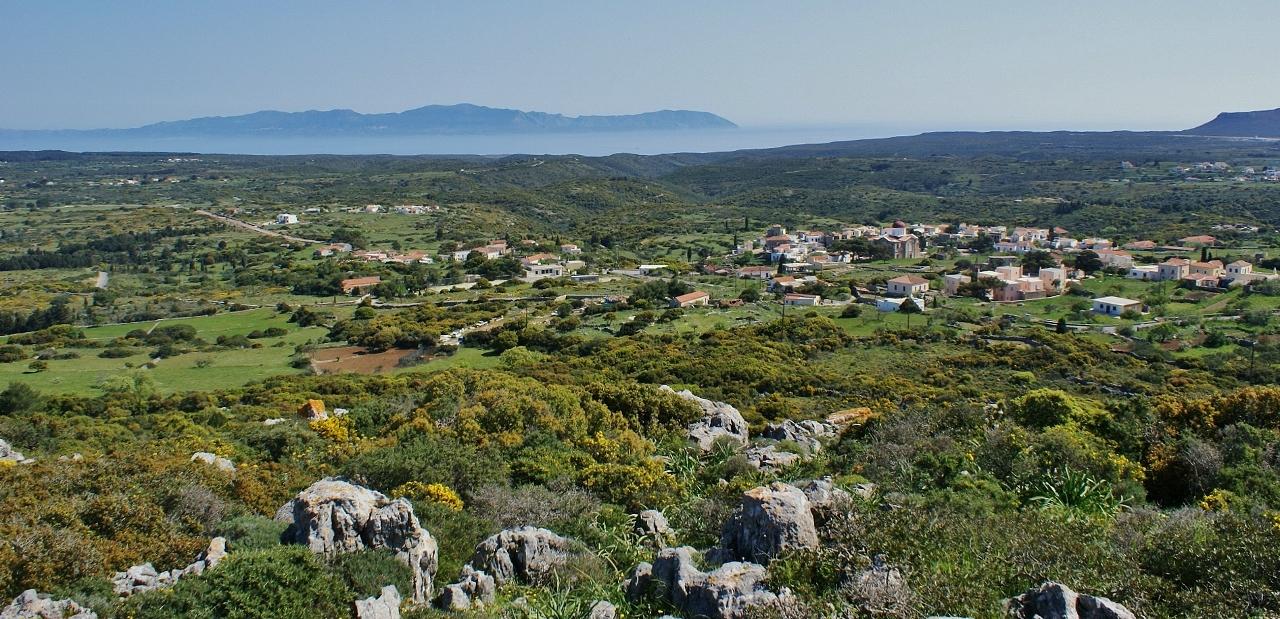 Wandelen op Kythira - zicht op Aroniadika