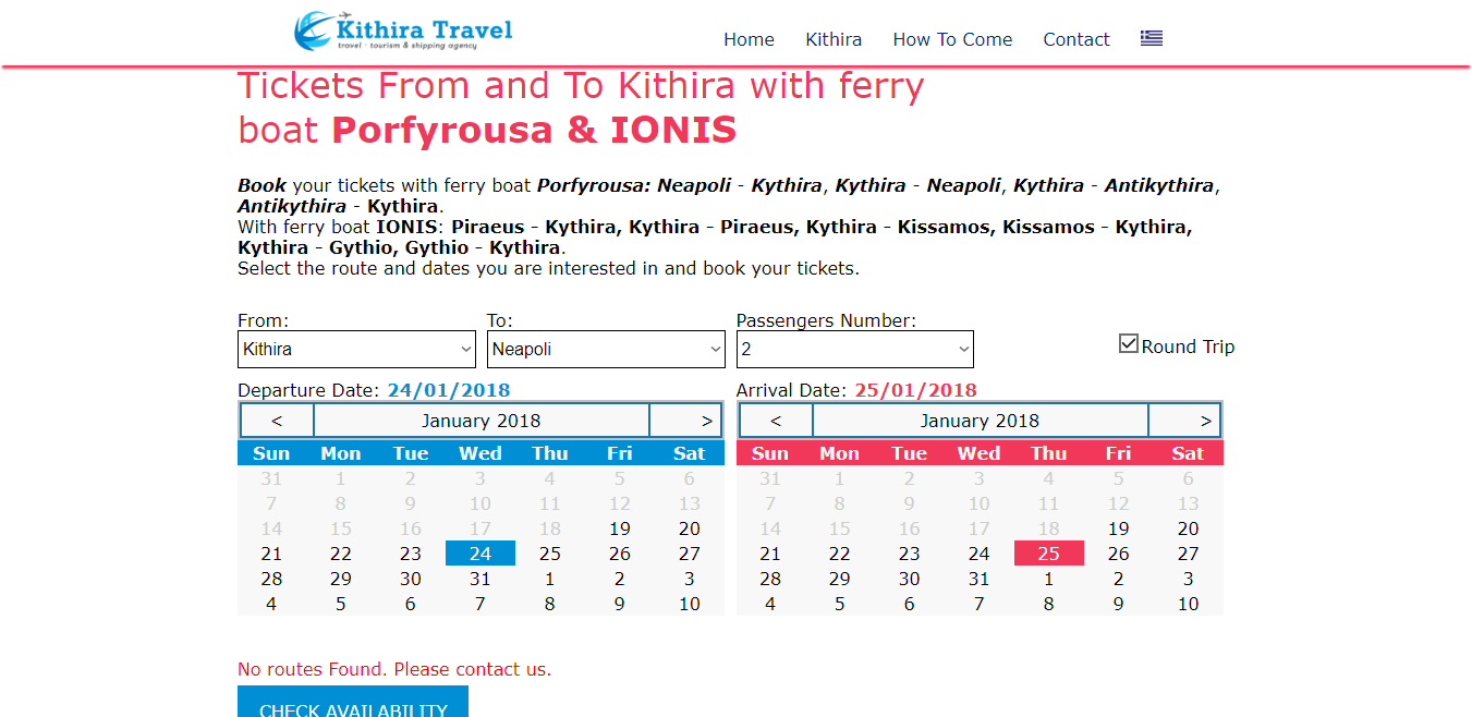 Ferry boat Kythira booking